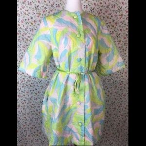 Vintage 1960's Housecoat Mod Dress Robe Nightgown
